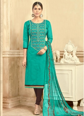 Chanderi Cotton Coffee Brown and Sea Green Embroidered Work Trendy Churidar Salwar Suit