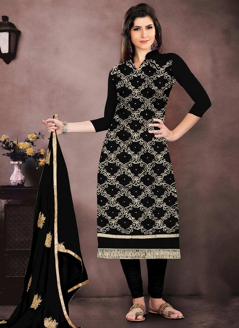 Chanderi Cotton Embroidered Work Churidar Salwar Kameez