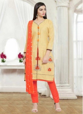 Chanderi Cotton Embroidered Work Pant Style Straight Salwar Suit
