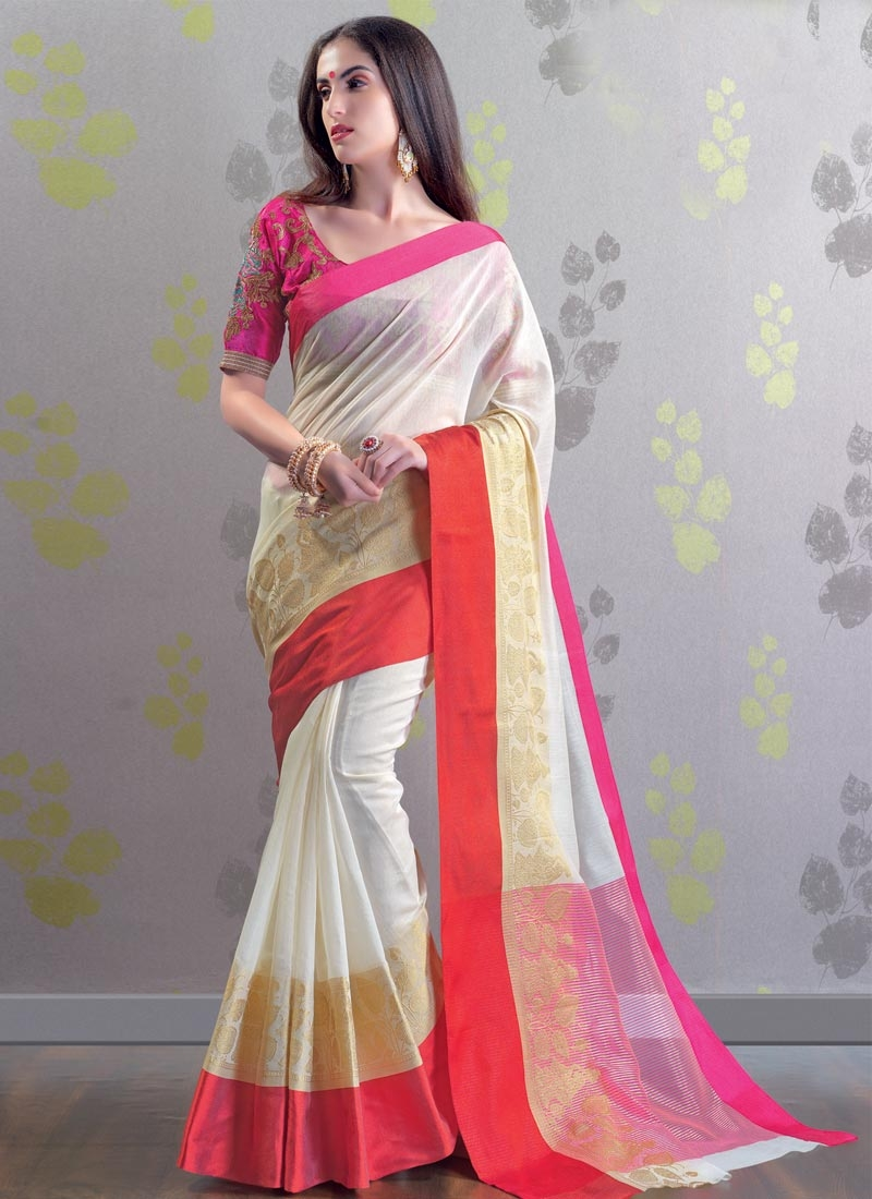 05e16a95bd6 Chanderi Cotton Embroidered Work Rose Pink and White Contemporary Style  Saree
