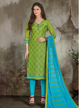 Chanderi Cotton Embroidered Work Trendy Churidar Salwar Kameez