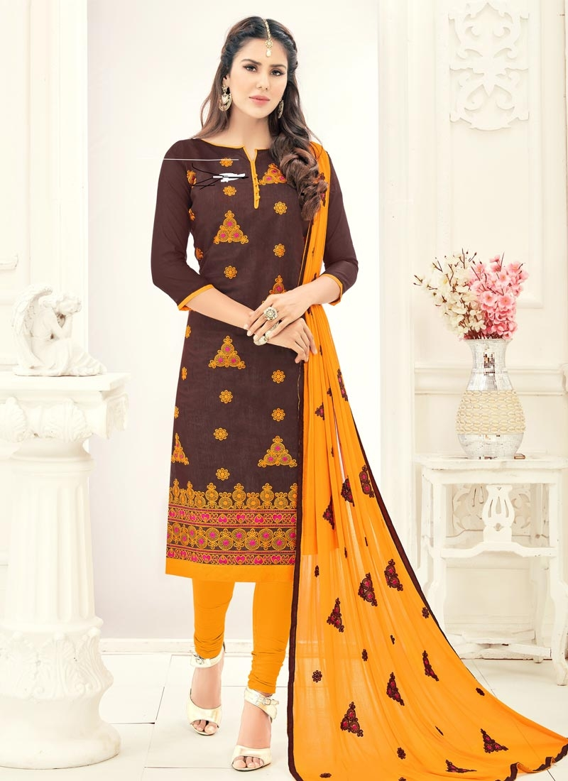 5a8ea67a89 Buy Chanderi Cotton Embroidered Work Trendy Churidar Salwar Suit Online