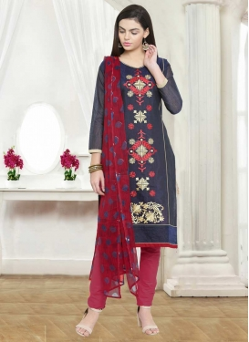 Chanderi Cotton Embroidered Work Trendy Pant Style Suit