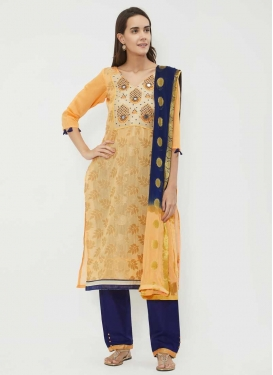 Chanderi Cotton Gold and Navy Blue Pant Style Salwar Kameez