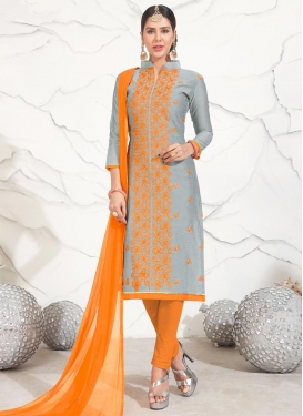 Chanderi Cotton Grey and Orange Trendy Straight Suit