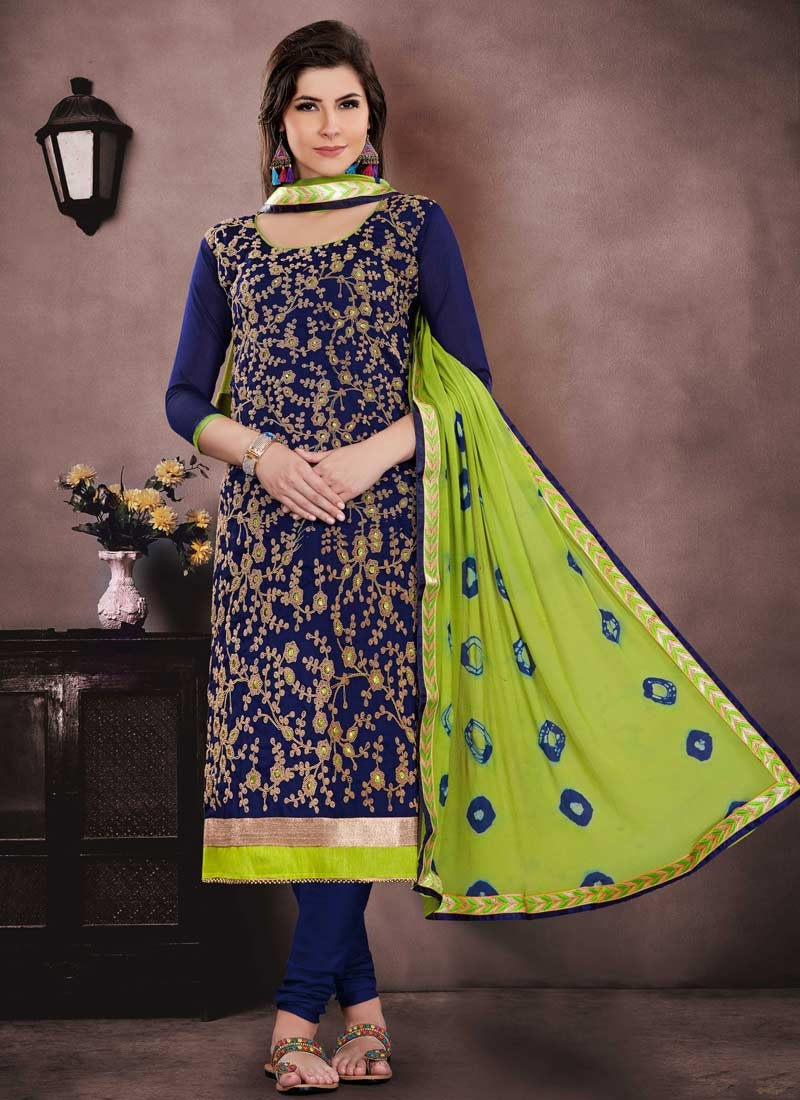 Chanderi Cotton Mint Green and Navy Blue Embroidered Work Churidar Salwar Suit