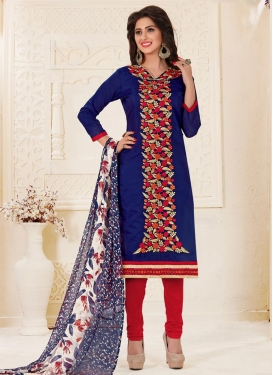 Chanderi Cotton Navy Blue and Red Embroidered Work Trendy Churidar Suit