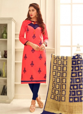 Chanderi Cotton Navy Blue and Rose Pink Embroidered Work Trendy Straight Salwar Suit
