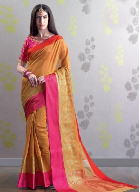 Chanderi Cotton Orange and Rose Pink Embroidered Work Trendy Classic Saree
