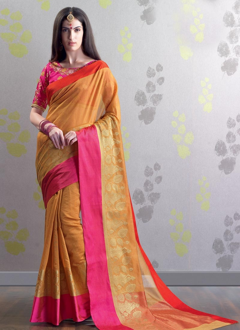 c443aa4afbc Chanderi Cotton Orange and Rose Pink Embroidered Work Trendy Classic Saree