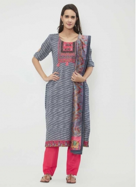 Chanderi Cotton Print Work Pant Style Salwar Suit