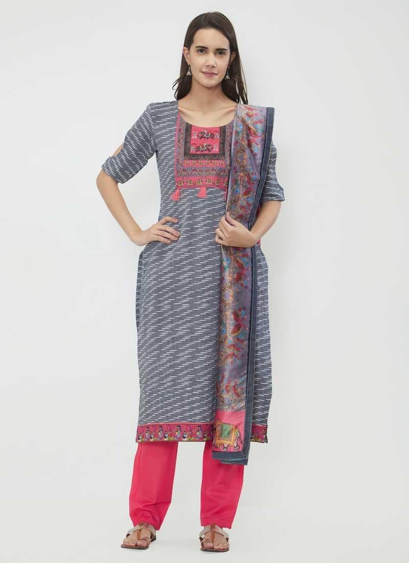 Chanderi Cotton Print Work Pant Style Salwar Suit