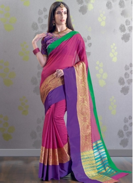 Chanderi Cotton Purple and Rose Pink Trendy Classic Saree