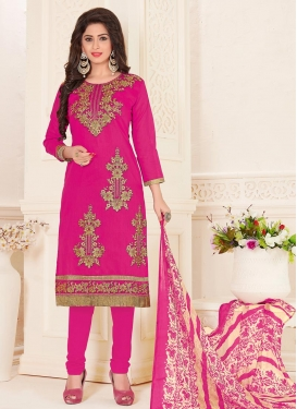 Chanderi Cotton Trendy Churidar Salwar Suit For Festival