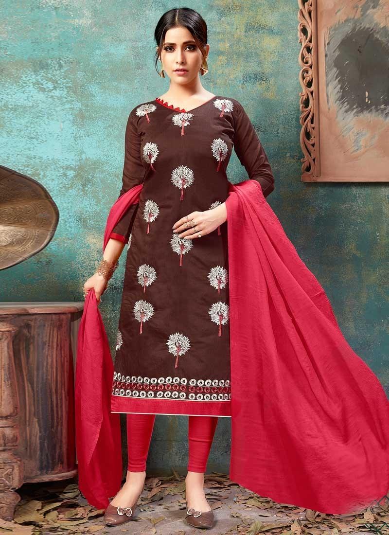 Chanderi Cotton Trendy Churidar Suit