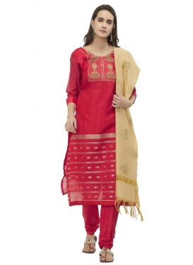 Chanderi Silk Beads Work Trendy Straight Salwar Suit