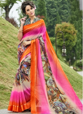 Chanderi Silk Beige and Orange Contemporary Style Saree