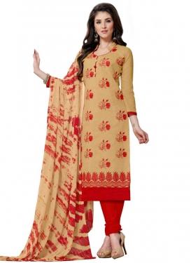 Chanderi Silk Beige and Red Embroidered Work Trendy Churidar Salwar Kameez