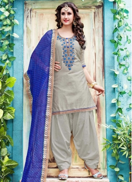 Chanderi Silk Blue and Silver Color Semi Patiala Suit