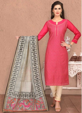 Chanderi Silk Chicken Work Churidar Salwar Kameez