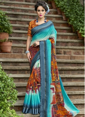 Chanderi Silk Digital Print Work Contemporary Saree
