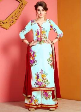 Chanderi Silk Digital Print Work Palazzo Style Pakistani Salwar Kameez