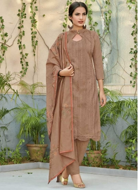 Chanderi Silk Embroidered Work Pant Style Salwar Suit