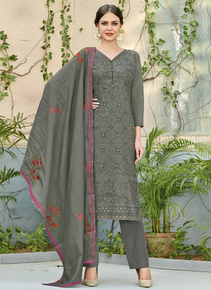 Chanderi Silk Embroidered Work Pant Style Straight Suit