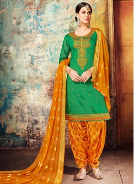 Chanderi Silk Green and Orange Semi Patiala Salwar Kameez
