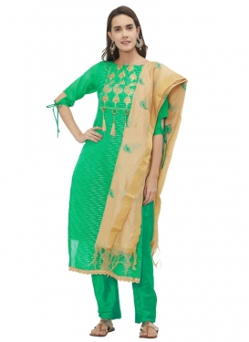 Chanderi Silk Straight Salwar Kameez
