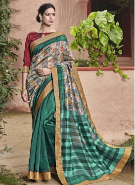 Charismatic  Art Silk Lace Work Half N Half Trendy Saree