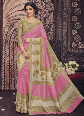 Charismatic  Art Silk Print Work Beige and Pink Contemporary Style Saree