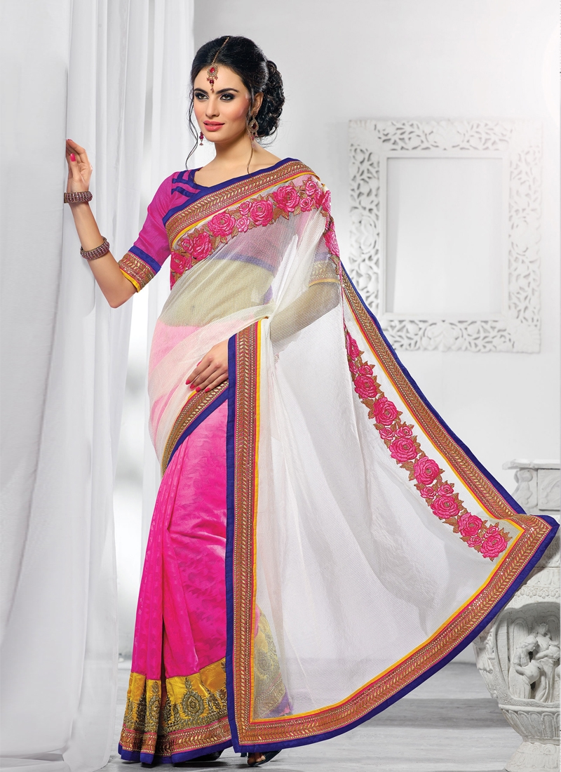Charismatic Bead Enhanced Half N Half Saree