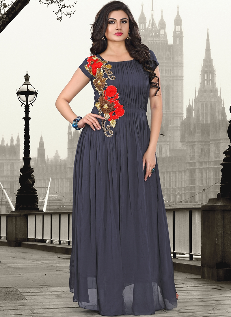 95ae8ffdbd3 Buy Charismatic Beads And Aari Work Party Wear Readymade Gown Online