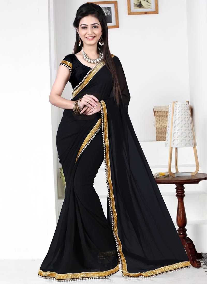 Charismatic Black Color Lace Work Casual Saree