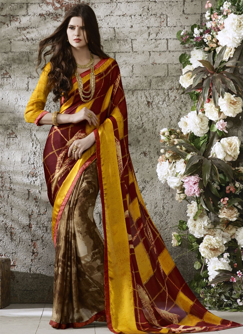 Charismatic Brown And Maroon Color Casual Saree