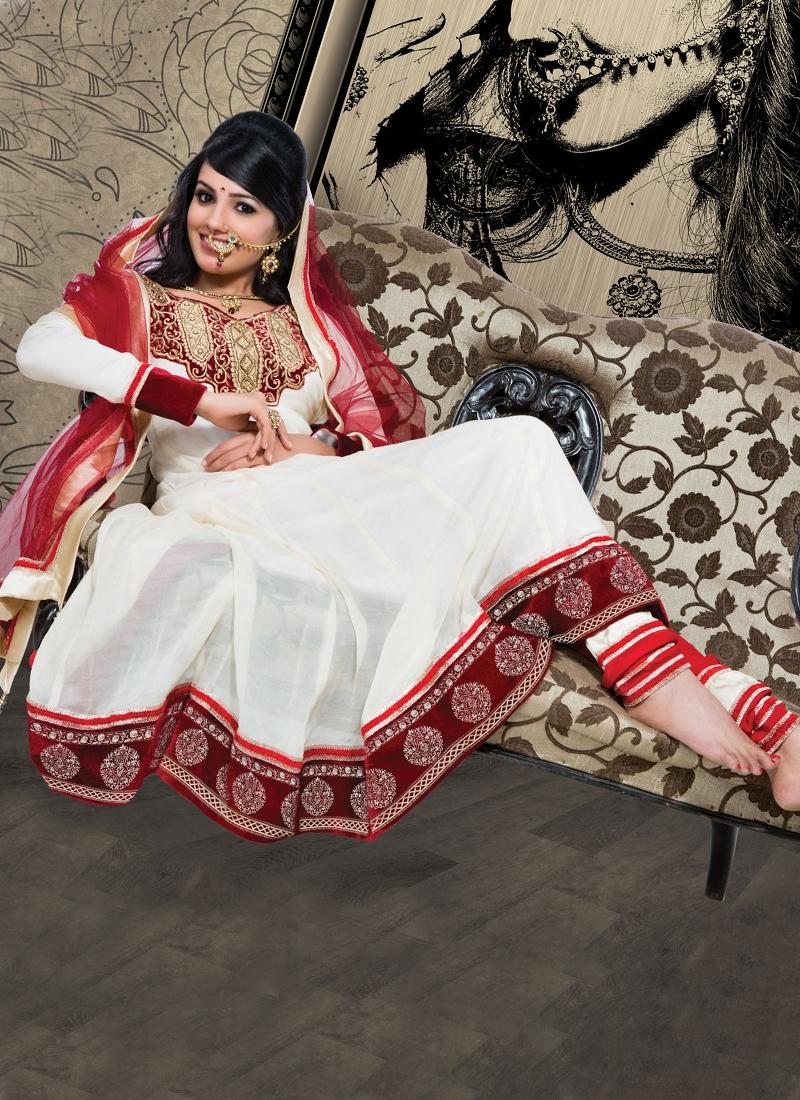 Charismatic Cream Color Georgette Anarkali Suit