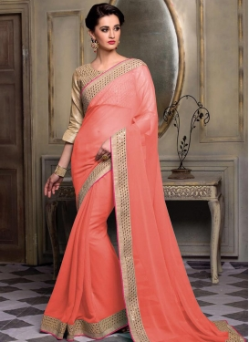 Charismatic Faux Chiffon Lace Work Traditional Saree