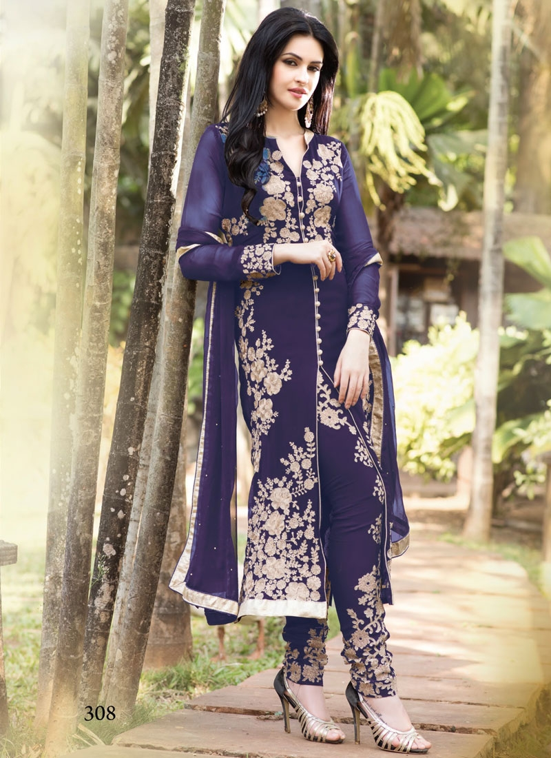 Charismatic Navy Blue Color Designer Salwar Kameez