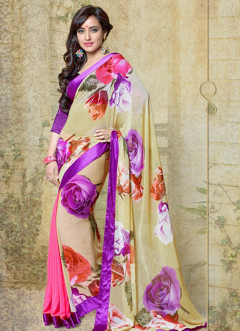 Charismatic Neha Sharma Lace And Digital Print Half N Half Casual Saree