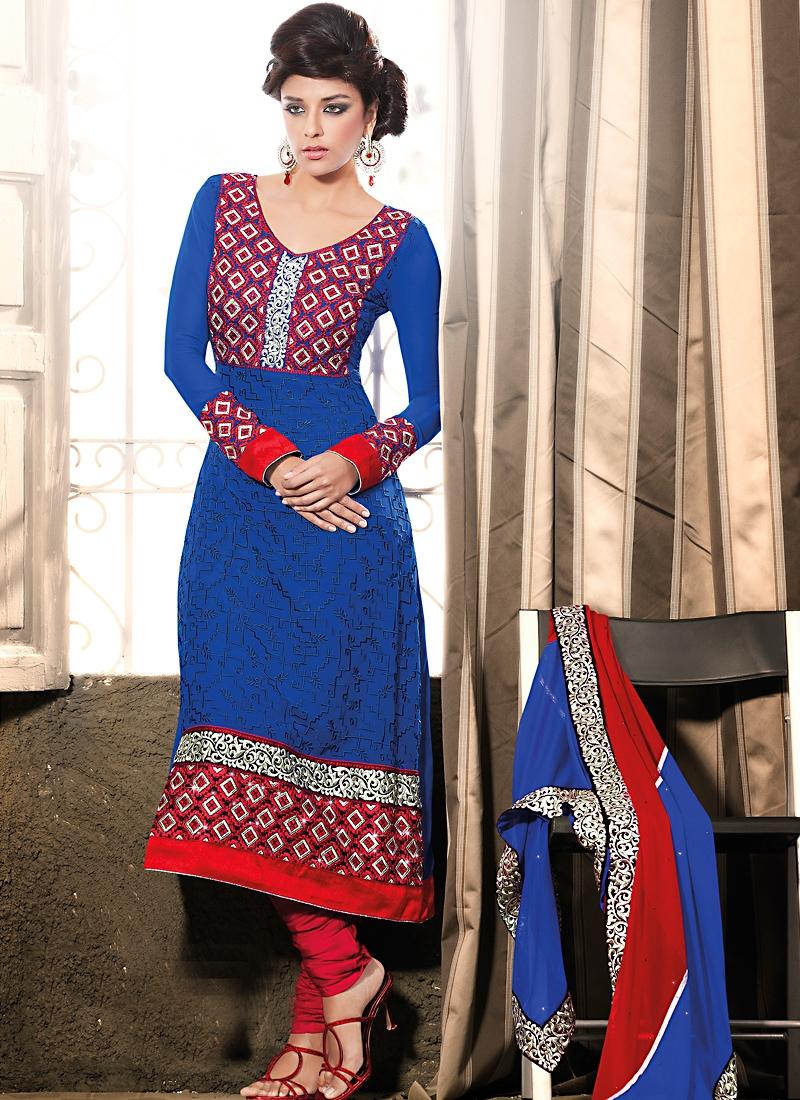 Charismatic Red And Blue Salwar Kameez