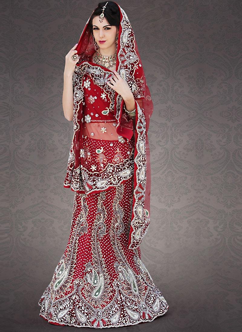 Charismatic Red Color Net Lehenga Choli