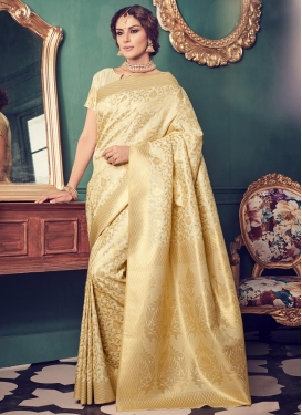 Charismatic Resham Work Jacquard Silk Trendy Classic Saree For Festival
