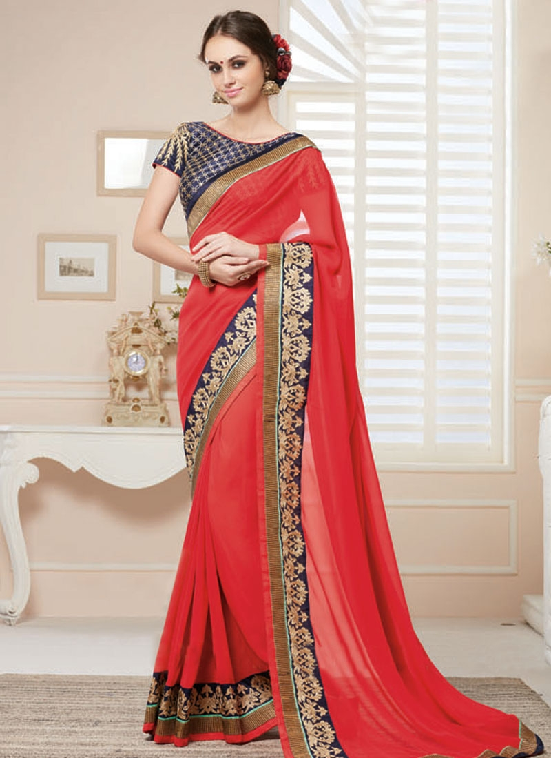 Charismatic Resham Work Red Color Party Wear Saree