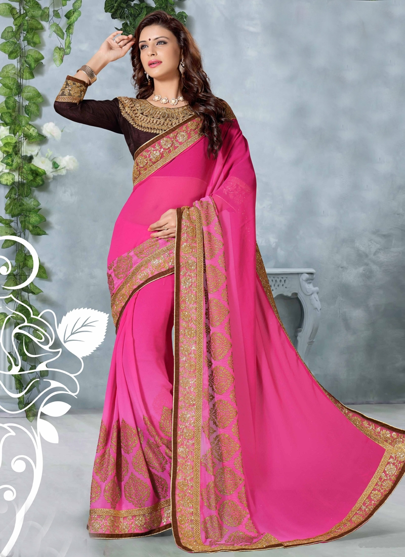 Charismatic Rose Pink Color Party Wear Saree