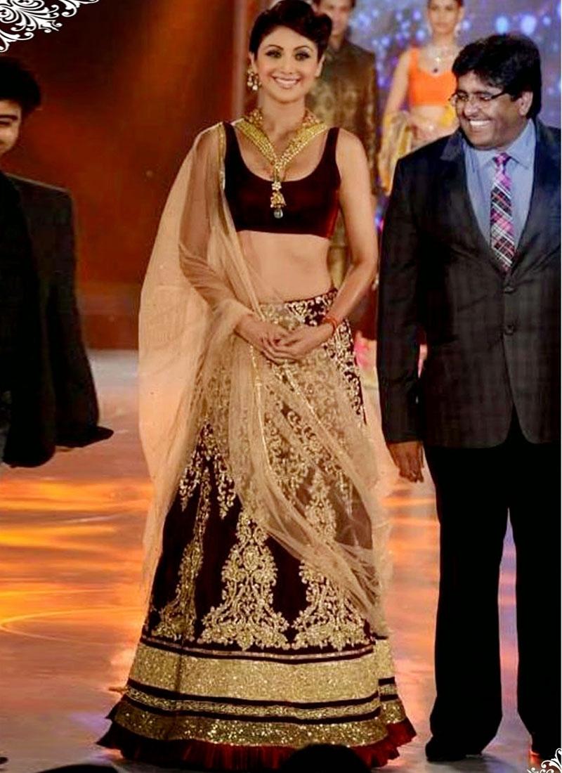 Charismatic Shilpa Shetty Velvet Lehenga Choli