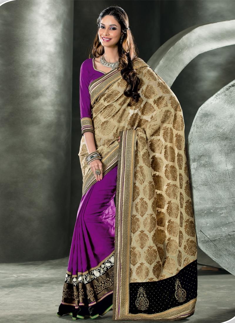 Charismatic Velvet Enhanced Half N Half Saree
