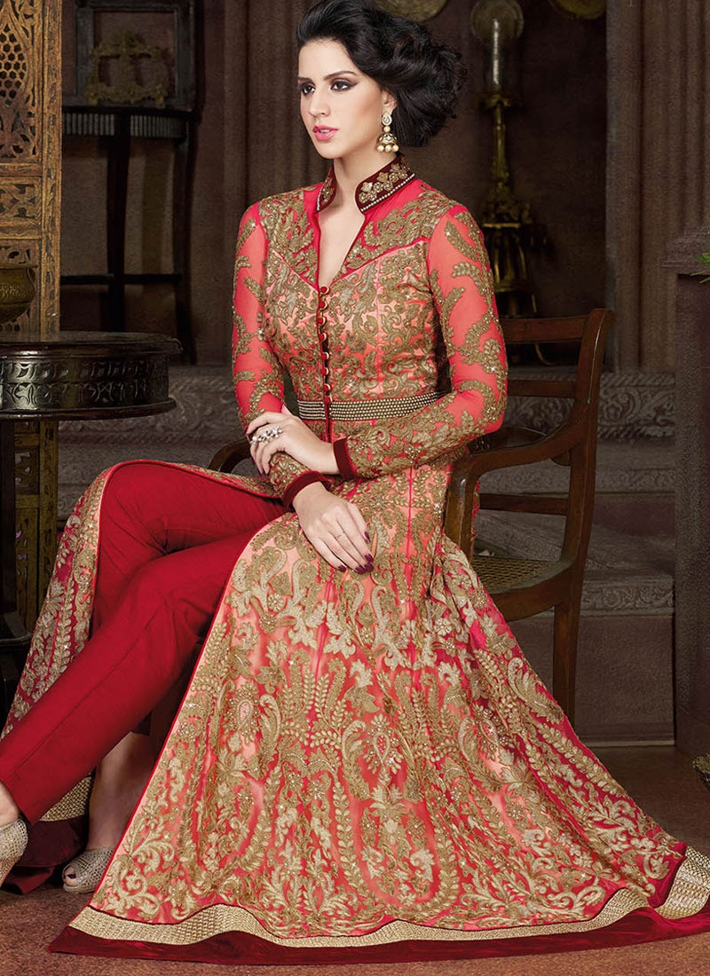 Charismatic Velvet Patch Pant Style Wedding Salwar Kameez