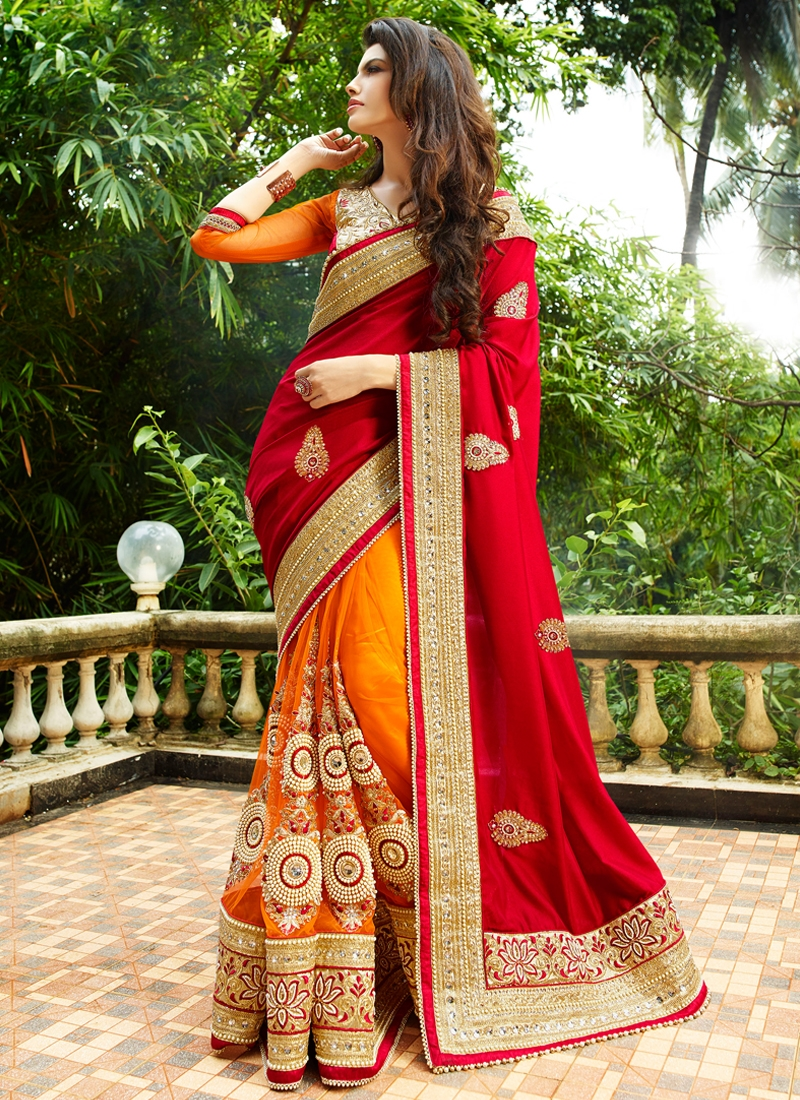 Charming Beads Work Half N Half Bridal Saree