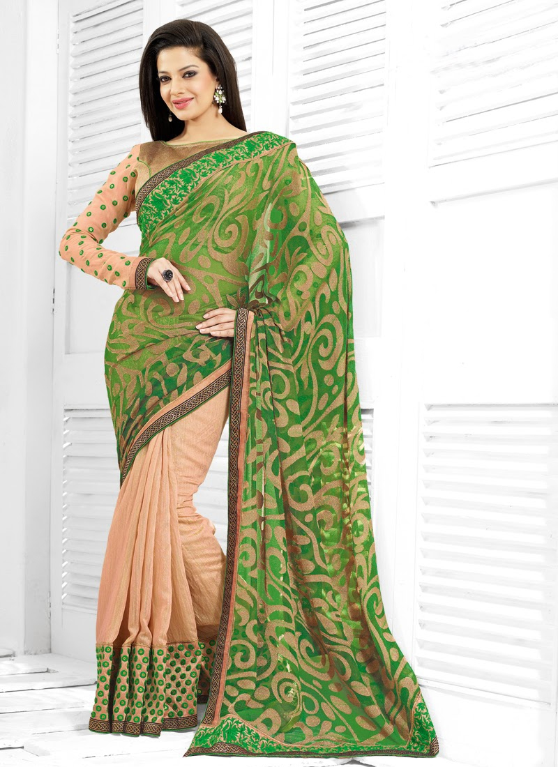 Charming Beige And Green Color Half N Half Saree